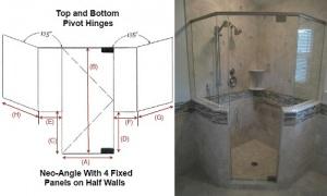1 Neo-Angle Angle With 4 Fixed Panels On Half Walls